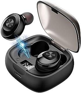 Audífonos Bluetooth, LETTURE Auriculares Bluetooth Inalámbricos Mini Twins Estéreo In-Ear con Caja de Carga Portátil [Pantalla LCD] Y Micrófono Integrado para iPhone y Android (Black)