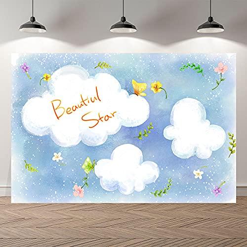 Fondo de fotografía Cielo Aviones Nubes Fiesta Dibujos Animados Foto telón de Fondo niños Feliz cumpleaños bebé Ducha sesión fotográfica A3 10x10ft / 3x3m