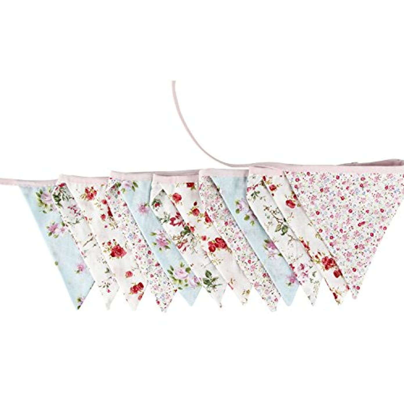 3.3M/10.8Ft Floral Lovely Flag Banner Pennant Flag Garlands Fabric Triangle Flag Double Sided Vintage Cloth Shabby Chic Decoration for Birthday Parties,Kitchen,Bedroom jb26350830