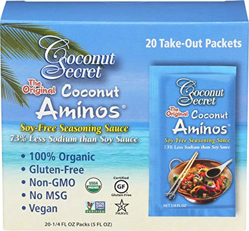 Coconut Secret - Aminos de coco salsa para condimentos sin soja - 20Paquetes