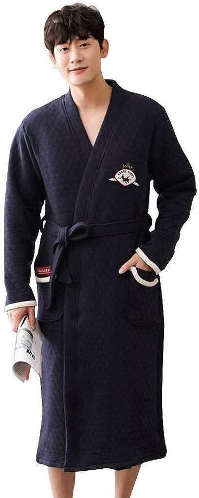 Men's Shawl Collar Bathrobe,Thicken Add Cotton 2Pockets Belt Warm Bathrobe Sleepwear for The Man