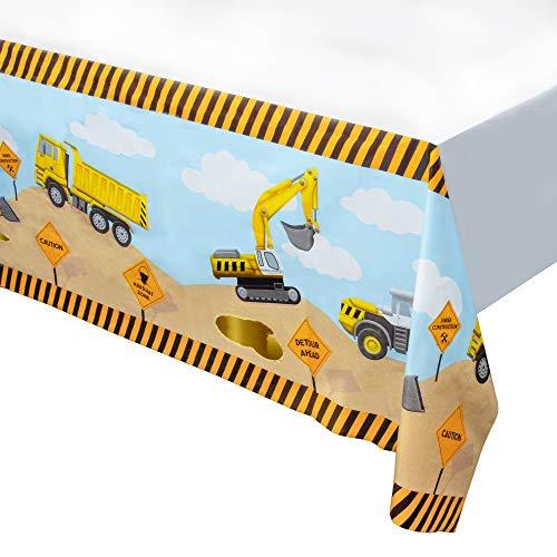 Construction Zone Kunststoff-Tischdecke, rechteckig, 137,2 x 274,3 cm, Bauthema Geburtstag Party Supplies