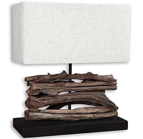 levandeo Lampe Tischlampe/Tischleuchte aus recyceltem Holz - Design Holzlampe Treibholz 35x15cm 40cm hoch - Jede Lampe EIN Unikat naturbelassenes Massivholz