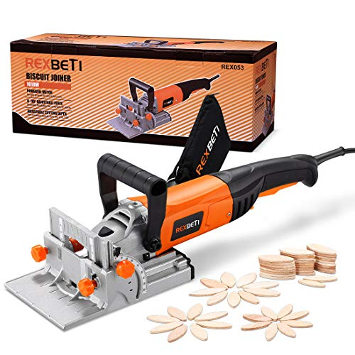 REXBETI Wood Biscuit Plate Joiner Kit with 4 Inch Tungsten Carbide Tipped Blade and 100pcs Wood...