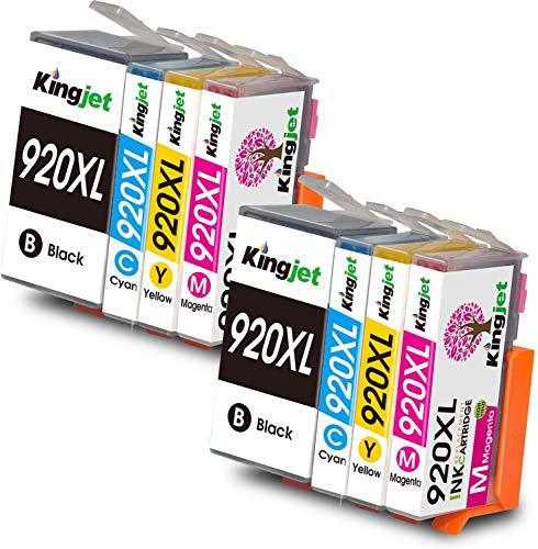 Kingjet 920 XL - Pack de 8 cartuchos de tinta para HP 920XL compatibles con HP Officejet 6500 A 6500 7500A 7500 E910 6000 7000 6500A Impresoras (2 Negros/2 Cyan/2 Magenta/2 Amarillo)
