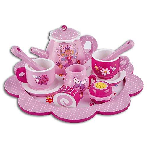 Lucy Locket – Juego de té y pastelitos de Madera de Cuento de Hadas Juego de té Infantil Rosa con Purpurina de 12 Piezas – Juego de té de Juguete