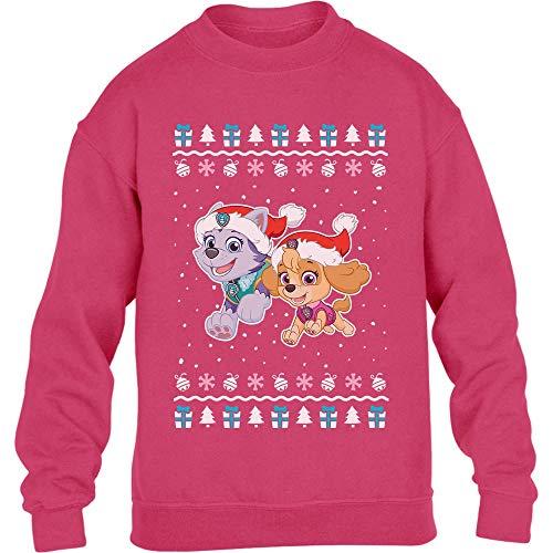 PAW PATROL Skye Everest Weihnachtspullover Mädchen Kinder Pullover Sweatshirt 116 Wow rosa