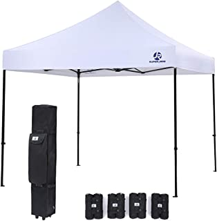 SUPERJARE Pop-up Canopy, 4 Weight Bags and a Wheeled Carry Bag, 10 Ft x 10 Ft Commercial Shelter, Outdoor Instant Folding Tent, Heavy Duty - White