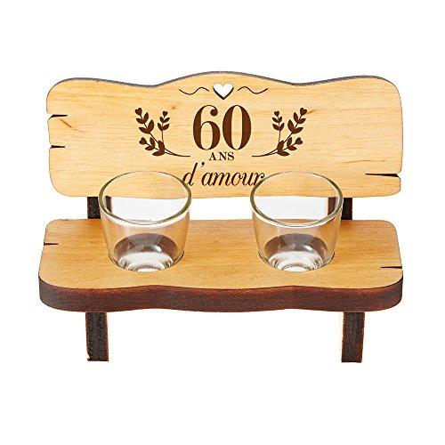 Casa Vivente Mini Banc en Bois d'Aulne avec 2 Verres à Shot, Gravure pour Les Noces de Diamant, 60 Ans d'amour, 16,5 x 8 x 8 CM