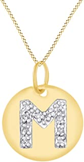 White Natural Diamond Initial A-Z Letter Disc Pendant Necklace in 14k Gold Over Sterling Silver