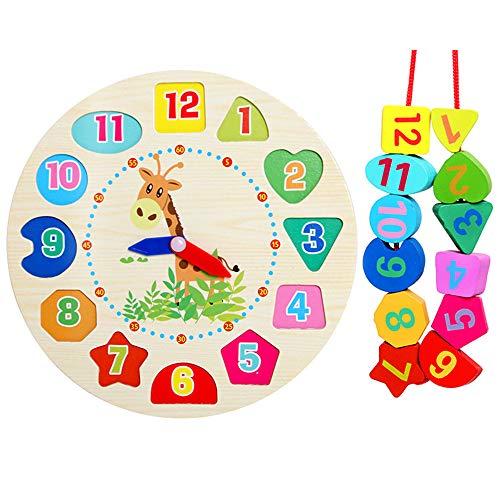 IWILCS Reloj de aprendizaje de madera Montessori, juguete de madera para aprender a leer Montessori,...