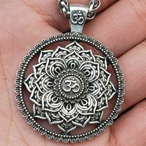 Xpccj Collar con colgante para hombre, diseño de mandala, mandala, mandala, indio, Zen Yoga OM, Viking Collares con flor de la vida, colgante de mandala, joyería de moda (Color de metal: plata)