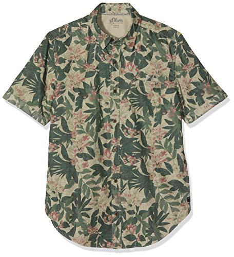 s.Oliver Herren 13.903.22.2264 Freizeithemd, Grün (Olive Disguise 72a1), Large (Herstellergröße: L)