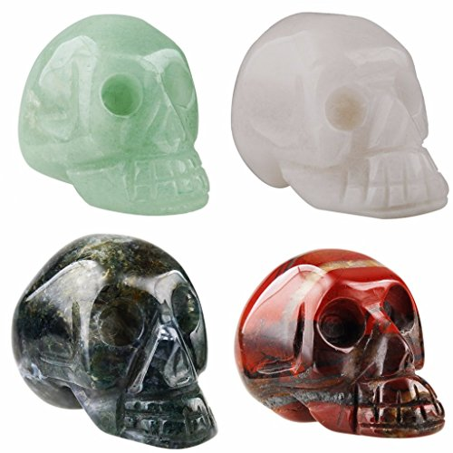 rockcloud Healing Crystal Stone Human Reiki Skull Figurine Statue Sculptures Mixed Stone(Pack of 4) 1.5'