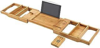 バスピローとソープホルダー付きバストレイバンドルバンブーバスキャディ調節可能なバスタブトレイバスシェルフバスラックまたはバステーブルとして適しています