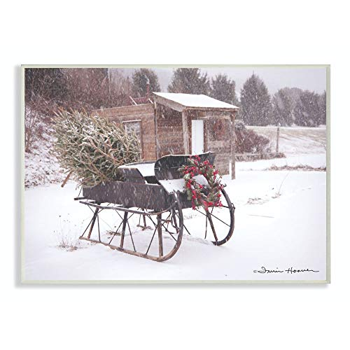 Stupell Industries Snow Sleigh with Tree and Wreath Photograph Wall Plaque, 10 x 15, Multi-Color
