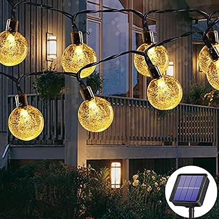Cadena de luces solares para exterior, 50 ledes, 8 modos, bolas de cristal solar impermeables para exterior e interior, iluminación para jardín, árboles, terraza, Navidad, fiestas (blanco cálido)