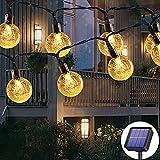 Solar Lichterkette aussen, 50LED 23ft 8 Modi Solar Kristall Kugeln wasserdicht Außer/Innen Lichter Beleuchtung für Garten, Bäume, Terrasse, Weihnachten, Hochzeiten, Partys (warmweiß)