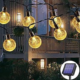 Guirlande lumineuse solaire d'extérieur 50 LED 7m 8 modes solaires, étanche, pour extérieur/intérieur, éclairage pour…