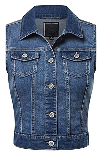 FASHION BOOMY Women's Cropped Denim Jean Vest - Sleeveless Jacket - Regular and Plus Sizes Small Blue_a