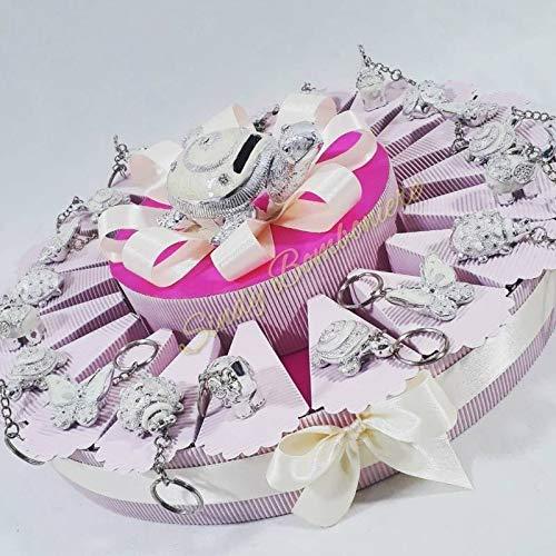 Idea Torta bomboniera Battesimo Nascita Bambina Portachiavi animaletti Madreperla Centrale salvadanaio Tartaruga (Torta da 20 fette)