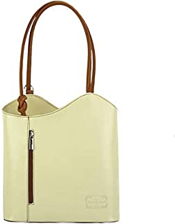 FLORENCE LEATHER MARKET Borsa donna beige e marrone a spalla in pelle 28x9x29 cm - Cloe - Made in Italy