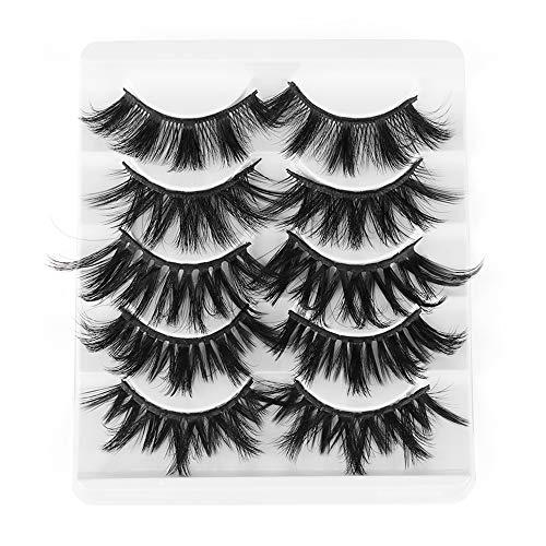 SKONHED 5 Pairs Beauty Makeup Handarbeit mit Lagen Wispy Cross Fluffy Natürliche Lange Falsche Augenbrauen 3D Soft Mink Hair Erweiterung der Augenlast