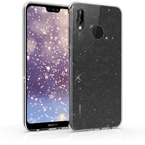 kwmobile Cover Compatibile con Huawei P20 Lite - Custodia in TPU Silicone per Cellulare - Brillantini Trasparente