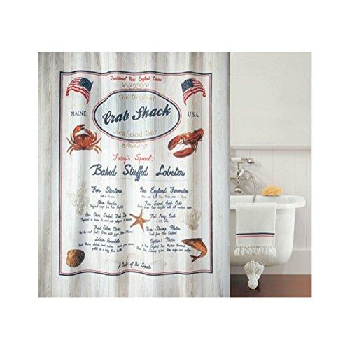 Spirella Anti-Schimmel Duschvorhang Crab Snack Anti-Bakteriell, waschbar, wasserdicht Polyester 180x200cm blau, rot, beige