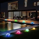 8er Set RGB LED Solar Lampen Eis Würfel Balkon Außen Beleuchtung Garten Weg Glas...