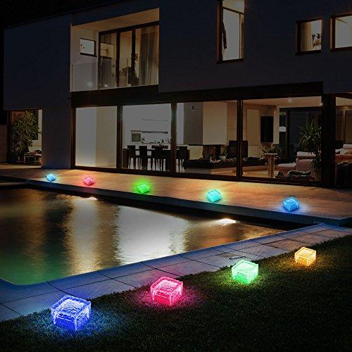 8er Set RGB LED Solar Lampen Eis Würfel Balkon Außen Beleuchtung Garten Weg Glas Stein Leuchten