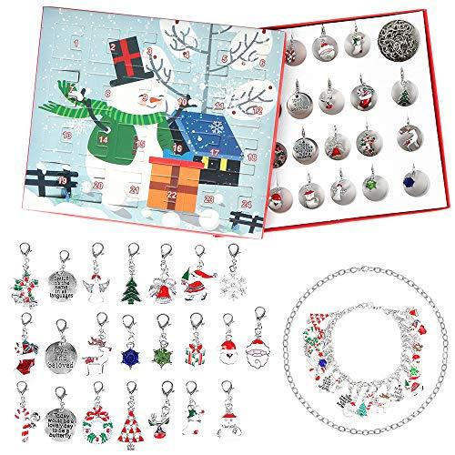 Bluelves Schmuck Adventskalender, Weihnachtskalender Schmuck Adventskalender, DIY Armband Halskette-Set, 24 Überraschungen Xmas Choker, für DIY Kette Armband Weihnachten Geschenk (Schneemann)