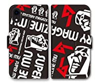 (C)月刊ムー 【 iPhone12 mini 】 手帳型ケース 「モアイロゴデザイン」 : ブラック