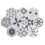 10 pegatinas hexagonales resistentes al agua, antideslizantes, autoadhesivas, para piso, cocina, baño, dormitorio, decoración de pared (estilo 3)
