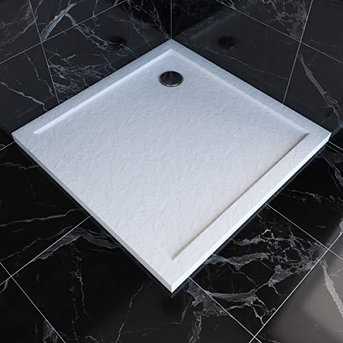 MARWELL Duschwanne quadratisch Pedra hochwertige Duschtasse aus Sanitär-Acryl in Steinoptik, passend für Duschabtrennungen mit Einer Grundfläche von 90 x 90 cm, weiß, 90 x 90 x 4 cm Abfluss