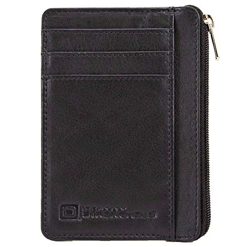 ID STRONGHOLD RFID Front Pocket Wallet Mini Minimalist Wallet Slim Wallet Genuine Leather with Zipper , Black , Small