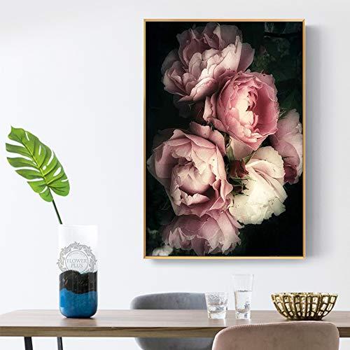 GJQFJBS HD-Druck Rose Nordic Mural Art Leinwand Bild Wohnzimmer Skandinavische Dekoration A6 70X100cm