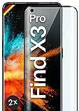 moex Full Screen Panzerglas kompatibel mit Oppo Find X3 Pro - Schutzfolie randlos, ganzer Display, Curved 3D Schutzglas Folie, Clear 2X Schwarz