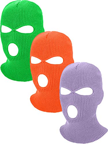 3-Holes Full Face Cover Knitted Neck Cover Winter Balaclava Outdoor Sports Cycling Hat for Men and Women (Fluorescent Green, Fluorescent Orange, Light Purple, Adult Size)