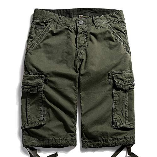 Pantalones Casuales de Color sólido Retro de Verano para Hombre, Monos Multibolsillos Europeos y Americanos, Pantalones Cortos de Talla Grande para Exteriores 40