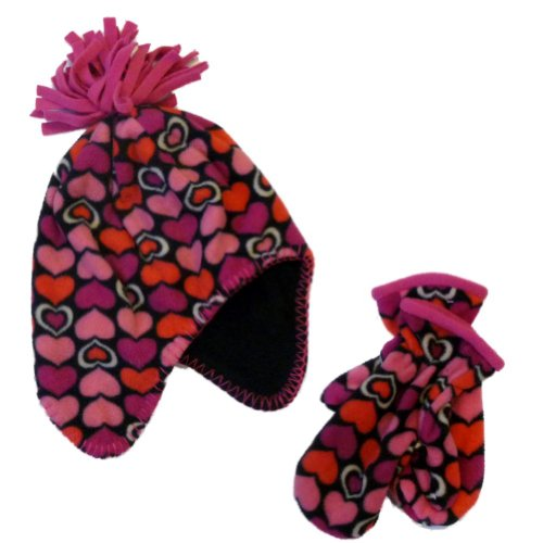 Faded Glory Girls Pink Hearts Hat & Mittens Beanie Stocking Trapper Hat