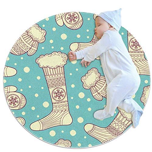 Wanten en wollen sokken rond gebied tapijt Art Deco anti-slip steun tapijt schuim mat woonkamer slaapkamer studie kinderen speelkamer super zacht tapijt vloer mat 2.3-voeten diameter