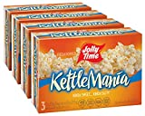 JOLLY TIME KettleMania Festival Fun Microwave Kettle Corn | Sweet & Salty Glazed Gourmet Popcorn (3-Count Box, Pack of 4)