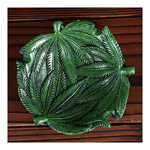 QINJLI Jamaican bladvormige asbak, groene plant sigaar asbak, tafeldecoraties handwerk voor het bewaren van sigarettenpeuken en kleine onderdelen