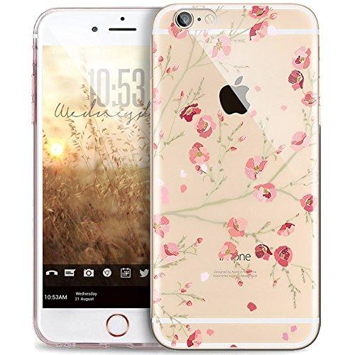 JAWSEU Kompatibel mit iPhone 8 Hülle,iPhone 7 Hülle Silikon TPU Transparent Hülle Crystal Clear Handyhülle Blumen Schmetterling Muster Durchsichtig Silikon hülle TPU Bumper Tasche Case Cover Etui #14