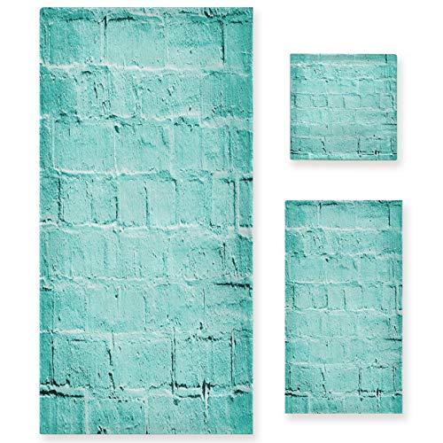 Naanle Juego de 3 toallas de baño vintage de mármol para pared de baño de algodón altamente absorbente, toalla de baño grande+toalla de mano+toalla, paquete de 3 toallas de suavidad para decoración
