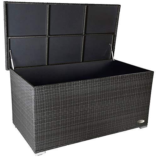 PREMIUM 'Venezia' 950 L Polyrattan Garten Kissenbox wetterfest (regnet nicht rein) 146 x 83 x 80 cm, Auflagenbox mit verstärktem Deckel und Gasdruckfedern, auch als Tischplatte geeignet, Silber