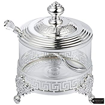 Matashi Silver Plated Sugar Bowl Honey Dish Candy Dish Glass Bowl - Contemporary Design with Crystal Studded Spoon Great Gifts idea for Birthday Mother s Day Christmas Anniversary