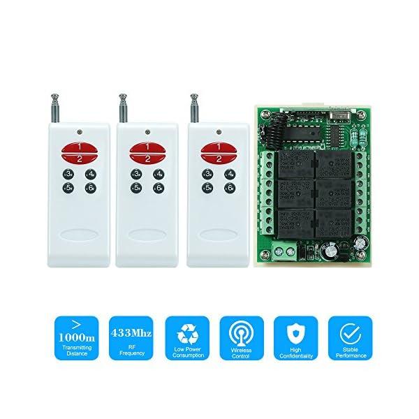 433Mhz-DC-12V-6CH-Canal-Universal-10A-Rel-inalmbrico-RF-Interruptor-de-Control-Remoto-Mdulo-Receptor-y-3PCS-6-Clave-RF-433-MHz-Transmisor-Cdigo-Fijo-2262-Chip-Controles-Remotos-Smart-Home