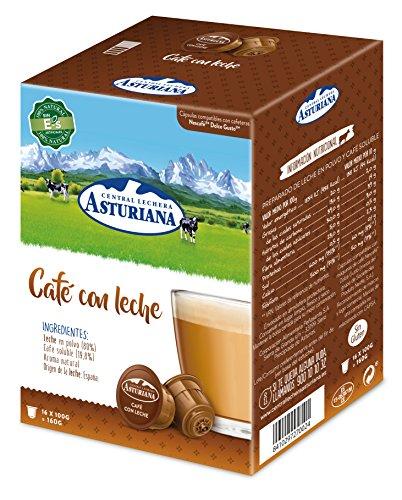 Central Lechera Asturiana Cápsulas de Café con Leche, 4 x 16 cápsulas